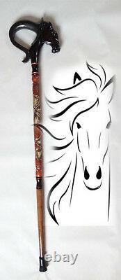 Horse Carved walking sticks Horse hand made Wood walking stick