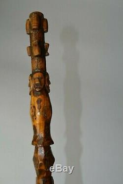 Interesting Old TRIBAL carved walking stick staff oceanic African Tribal