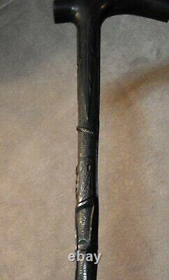 Irish Bog Oak Walking Stick relief-carved Harp Snake Castle Shamrock Ferns