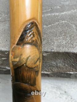 Japanese Antique Bamboo Cane Carved with Samurai, Eagle & Monkey Signed