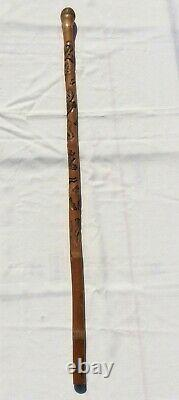 Japanese Meiji Period Carved Bamboo Walking Stick/Cane with Snake and Rodents