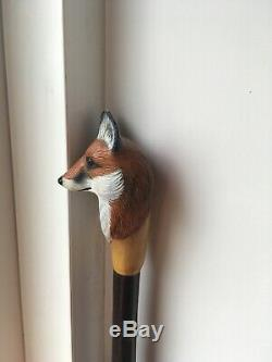 Keith Pickering The Stick Man Fox Head Carved Walking Stick