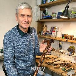 King Cobra Snake & Skull Head Wooden Walking Stick Cane Hand Carved gift for men