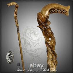 Light Wooden Cane Walking Stick Rose Flower Hand Carved gift for women ladies