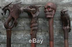 Long Walking Sticks Cane Ceremonial Staff Hand Carved Wooden Handle Goth Party
