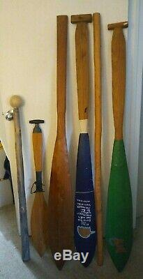Lot of 4 Carved Northwest Coast Tribal Design, Wooden Oars, Fish Club, Walk Stick