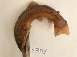 Magnificent Hand Carved Salmon 53 Hazel Shaft Walking Stick by Ian Taylor
