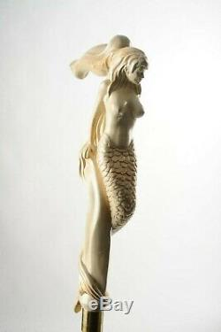 Mermaid PERFECT WALKING STICK WOODEN CANE HAND MADE HAND CARVED CRAFTED STAFF