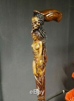 Monster walking stick cane wooden hand carved naked girl hiking staff for men