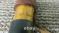 Native American Indian Brass Inlay Walking Stick Cane Carved Wood Leather Wrap