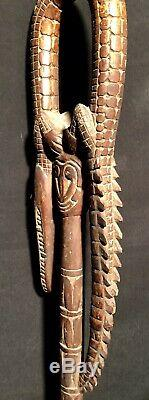 Nice Folk art hand carved wood Crocodile walking stick cane