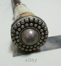 OLD CARVED KING HEAD SILVER SECRET BOX WOOD GADGET WALKING STICK with GAME DICES