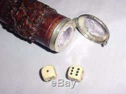 OLD CARVED WOOD SILVER HANDLE SECRET BOX GADGET WALKING STICK with PAIR GAME DICES
