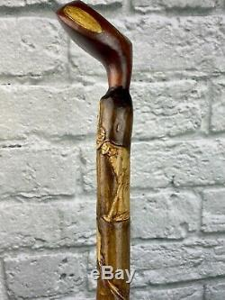 ONE OF A KIND HAND CARVED GOLF CLUB CANE/WALKING-STICKSigned by artist 42
