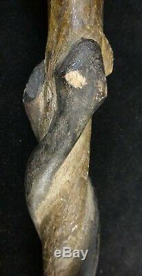 Old African Carved Wood Walking Stick. Hoop top, Female, Bird & Snake. 33 long