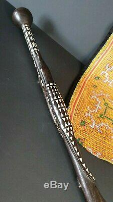 Old Papua New Guinea Solomon Island Inlaid Carved Ebony & Mother of Pearl Walkin