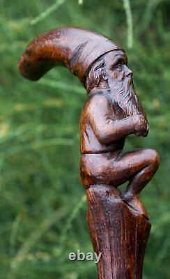 One Length Figural Carved Briar Walking Stick