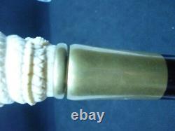 Oriental Carved Bovine Dragon Topper Walking Stick Hardwood Compass Top
