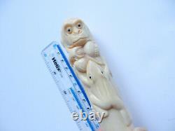 Oriental Carved Monkey Frog Cane Topper Walking Stick Ebonised Wood