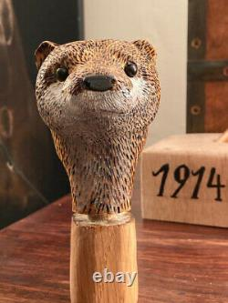 Otter Head Hand Carved in Lime wood Country Walking stick on Hazel Shank