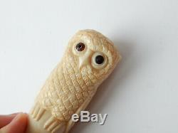 Owl Cane Topper Walking Stick Ebonised Wood Hand Carved