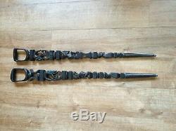 Pair Of Vintage Hand Carved Ebony Wood Elders African Walking Sticks
