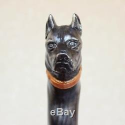Pitbull Black Wooden Dog Walking Stick Cane Hand Carved Handmade Hiking sticks