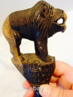 Primative Hand Carved Folk Art Walking Stick/Cane -Snake, Rhino Hoof, Wild Beast