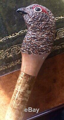 Purdey Shooting Stick Carved Walking Cane Grouse Holland Guns HRH & Royal