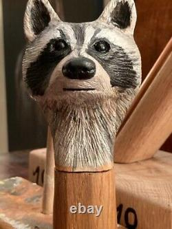 Raccoon Head Hand Carved in Lime wood Country Walking stick on Hazel Shank