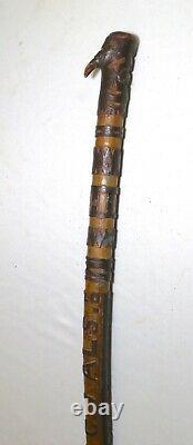 Rare 1907 elaborate antique hand carved wood Folk Art C. J ALS walking stick cane