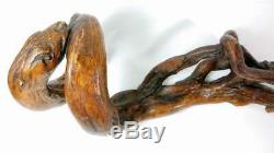 Rare Antique 19th Century Wood Root Folk Art Walking Stick / Cane Carved Snakes