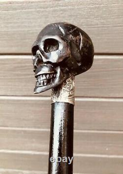 Rare Antique Victorian Memento Mori Carved Skull Walking Stick Walking Cane
