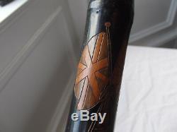 Rare WW1 British & Japanese Flags Carved Bamboo Walking Stick Hidden Fishing Rod