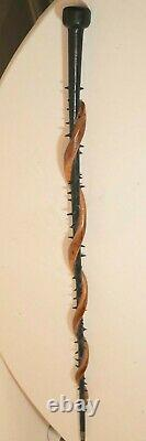 Rare antique 1800's hand carved wood Folk Art figural snake walking stick cane