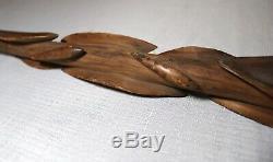 Rare antique hand carved wood Folk Art figural fish pedal walking stick cane