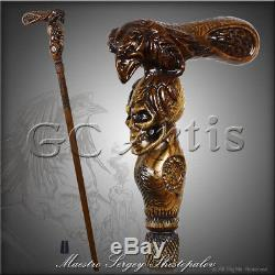 Raven & Skull Walking Stick Cane Wood Carved Gothic Magic Staff Wooden Fantasy