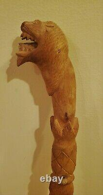 Raw Antique African Lion Head Teeth Hand Carved Pineapple Walking Stick Cane 39