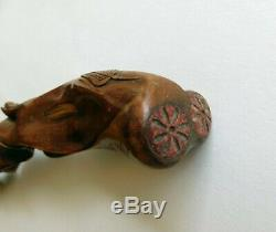 Red Willow Heavily Carved Antique Walking Stick Dated 1885 with Bison