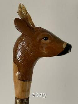 Roebuck Head Hazel Walking Stick Hand Carved. Beautiful xmas birthday present
