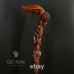 Rose Flower Wooden Cane Walking Stick Staff Hand Carved for women ladies support