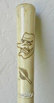 SUPERB Antique 31 JAPANESE Bone Walking Stick Carved Noh Mask Netsuke Cane
