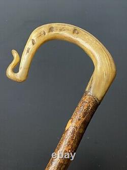 Shepherds Crook Carved Rams Horn Walking Stick