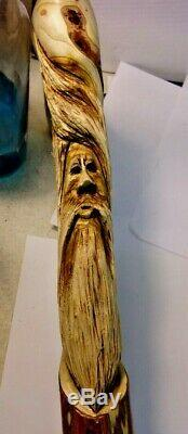 Signed Hand Carved Wood Folk Art Walking Stick Can Cypress Tree Spirit Face