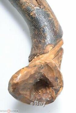 Simple French Antique Beech Cane Walking Stick Folk Art Hand Carved Old Man Face