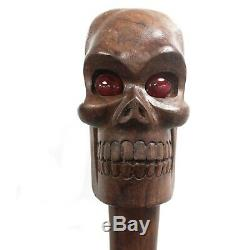 Skull Ceremonial Staff Walking Stick Long Wooden Cane Hand Carved Handle 1.6m