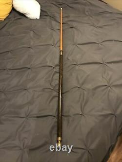 Smugglers Cane Pool Cue Carved Wood & Brass Ball Knob Walk Stick Crooked