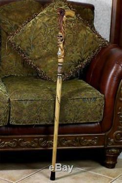 Snake Cobra & Skull wooden walking cane stick hiking Staff woood art hand carved