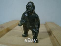 Soapstone Inuit Eskimo Carvings Eskimo With Walking Stick Signed Luke