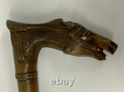 Stunning Hand Carved Antique Walking Stick Horse with saddle Kepkypa Corfu